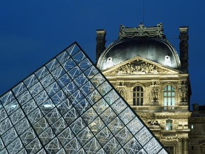 Detail of the Glass Pyramid Outside the Louvre Museum at Dusk-Design Pics Inc-Photographic Print