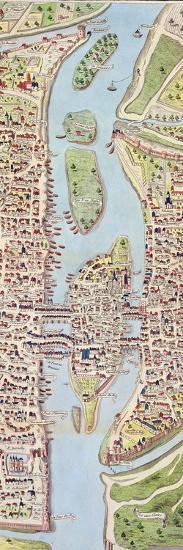 Detail of the Ile De La Cité, from the Map of Paris C. 1540, known as the 'Plan De La…-Caroline Naudet-Giclee Print