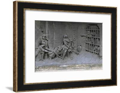 Detail of the Maid of Orleans in Prison at Base of Joan of Arc's Equestrian Statue--Framed Giclee Print