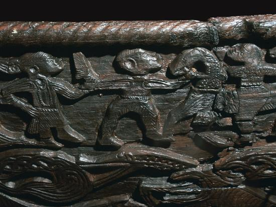 Detail of the Oseberg Cart from the Oseberg ship burial, 9th century. Artist: Unknown-Unknown-Giclee Print