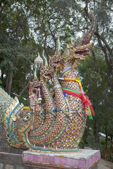 Detail of the Seven Headed Naga Guarding the 300 Steps to Wat Phrathat Doi Suthep, Thailand--Giclee Print