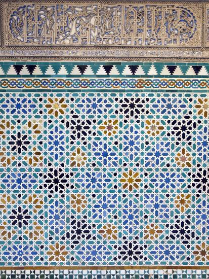 Detail of Tiles and Plaster Carving at Alcazar Royal Palaces, Seville-Krista Rossow-Photographic Print