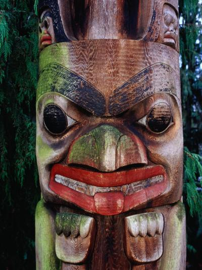 Detail of Totem Poles at University of Washington State Burke Museum, Seattle, Washington, USA-Lawrence Worcester-Photographic Print
