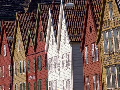 Detail of Traditional Housing Facades on the Quayside, Bergen, Norway, Scandinavia, Europe-Ken Gillham-Photographic Print