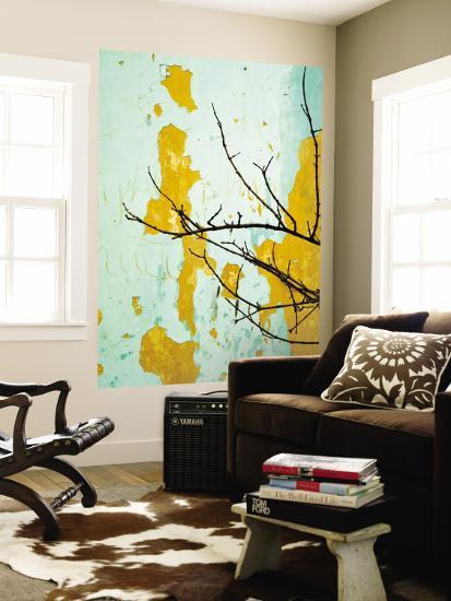 Detail of Tree Branch Against Wall with Peeling Paint-Rachel Lewis-Wall Mural