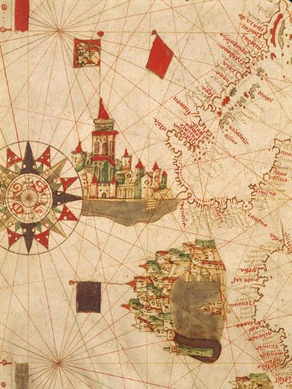 Detail of Venice and Genoa, from Navigational Map, Plate, 16th Century--Giclee Print