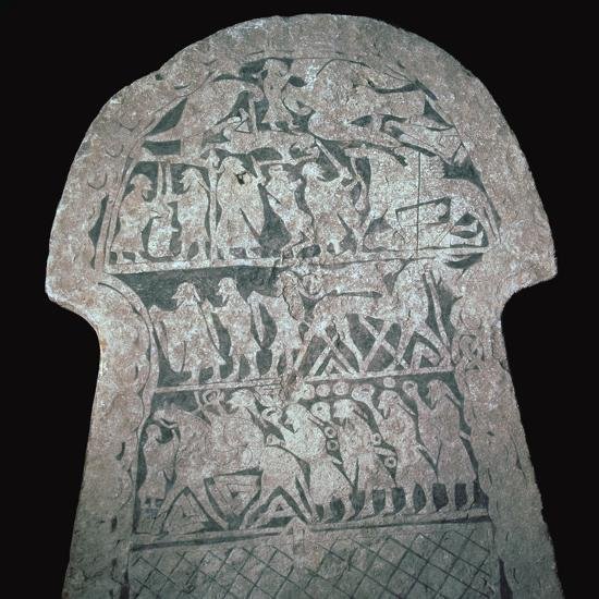 Detail of Viking stele showing a battle scene, 8th century. Artist: Unknown-Unknown-Giclee Print