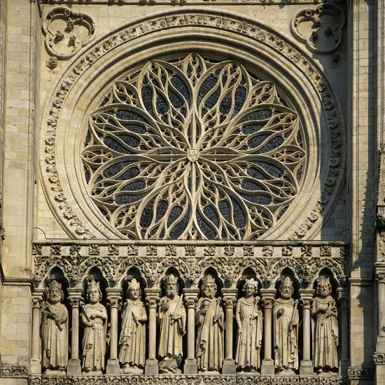 Detail of West Front, Notre Dame Cathedral, UNESCO World Heritage Site, Amiens, Picardy, France, Eu-Stuart Black-Photographic Print