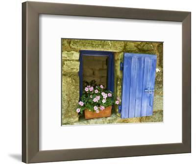 Detail of Windowbox and Shutters, Saignon Village, Vaucluse, Provence, France, Europe