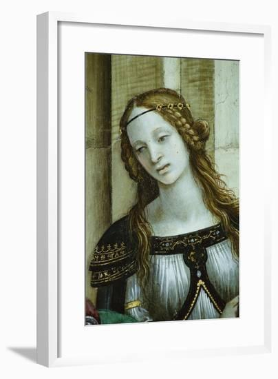 Detail of Young Woman from Saint John the Evangelist Reuscitating Druisana-Filippino Lippi-Framed Giclee Print