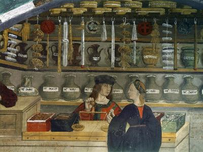 Detail Pharmacy or Chemist Measuring with Scales, 15th century Italian Gothic Fresco--Giclee Print