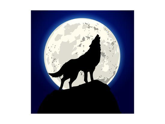 Detailed Illustration of a Howling Wolf in Front of the Moon, Eps 10 Vector-unkreatives-Art Print