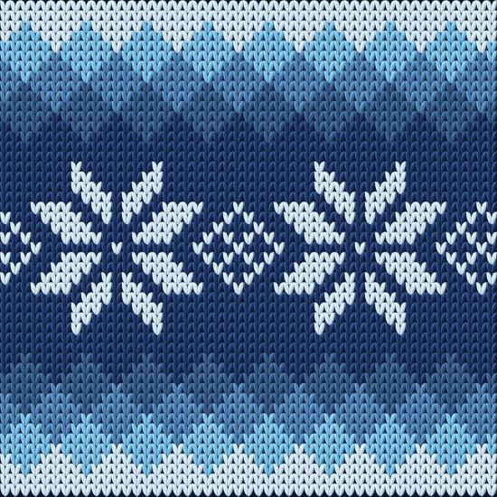 Detailed Knitted Blue Jacquard Pattern with White Flowers- Anna zabella-Art Print