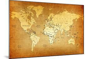 Detailed Old World Map-goliath-Mounted Art Print