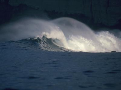 Detailed View of Curling Waves in the Surf under a Black Sky-Jeff Foott-Photographic Print