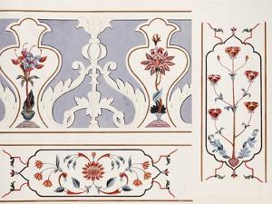 Details of the Mosaics at the Taj Mahal, Agra School, circa 1815