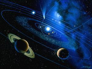 Artwork of Solar System And Comet by Detlev Van Ravenswaay