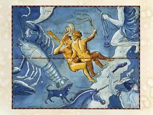 Historical Artwork of the Constellation of Gemini by Detlev Van Ravenswaay