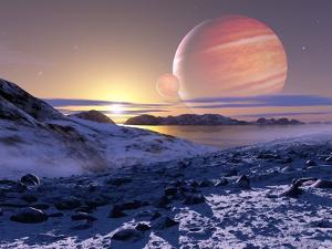 Jupiter From Europa, Artwork by Detlev Van Ravenswaay