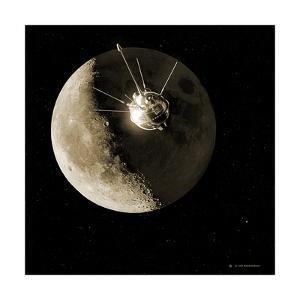 Luna 1 Spacecraft At the Moon, 1959 by Detlev Van Ravenswaay