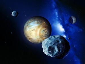 Pluto And Charon And Kuiper Belt by Detlev Van Ravenswaay