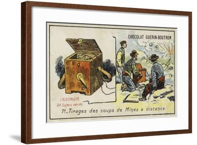 Detonating Explosive Charges from a Distance--Framed Giclee Print