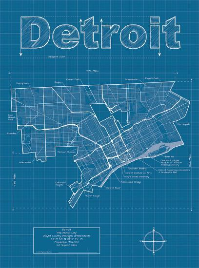 detroit artistic blueprint map art print by christopher estes art com