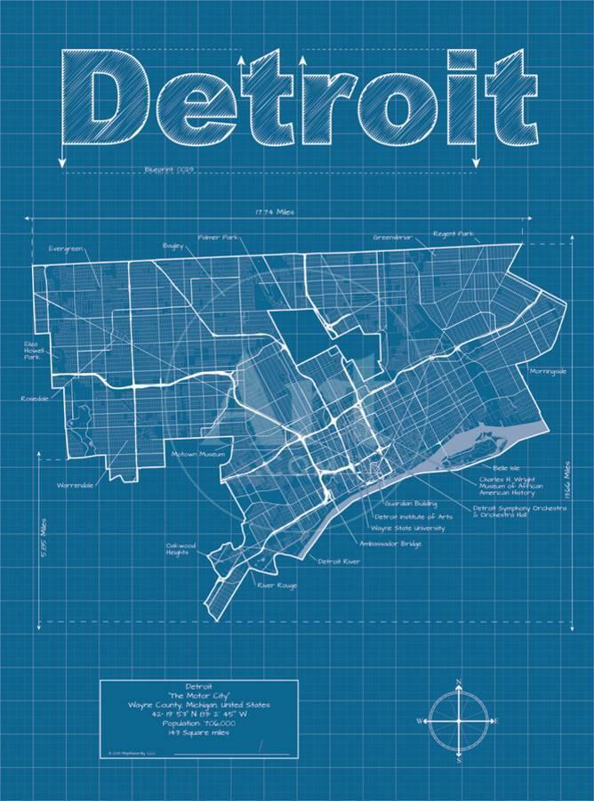 Detroit artistic blueprint map art print by christopher estes the detroit artistic blueprint map art print by christopher estes the new art malvernweather Gallery