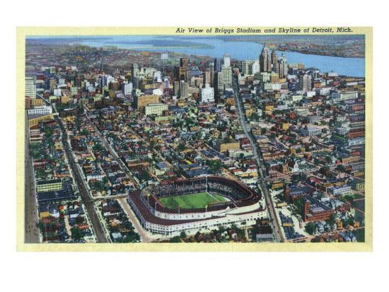 Detroit, Michigan - Aerial View of Briggs Stadium and Skyline-Lantern Press-Art Print