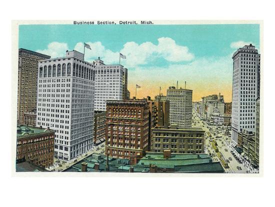 Detroit, Michigan - Aerial View of Downtown-Lantern Press-Art Print