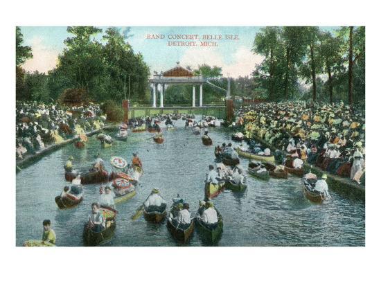 Detroit, Michigan, Belle Isle Park View of a Band Concert-Lantern Press-Art Print