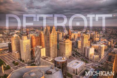 Detroit, Michigan - City Aerial View-Lantern Press-Art Print