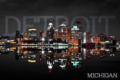 Detroit, Michigan - City at Night-Lantern Press-Art Print