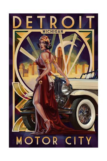 Detroit, Michigan - Deco Woman and Car-Lantern Press-Art Print