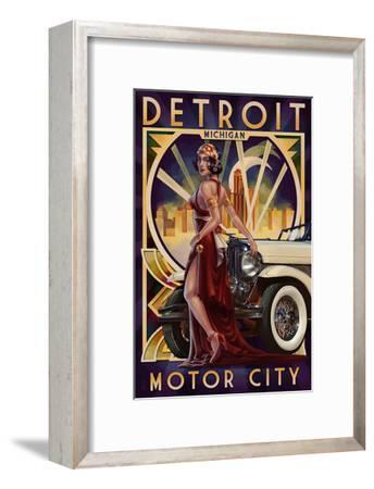 Detroit, Michigan - Deco Woman and Car-Lantern Press-Framed Art Print