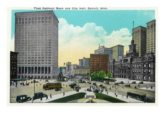 Detroit, Michigan - First National Bank, City Hall Exterior-Lantern Press-Art Print