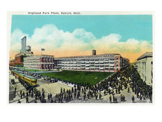 Detroit, Michigan - Highland Park Plant Exterior-Lantern Press-Art Print