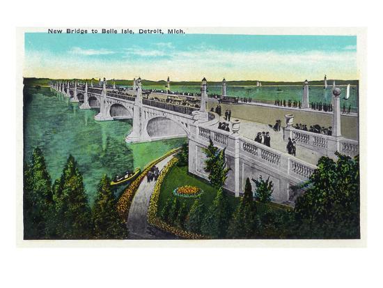 Detroit, Michigan - New Belle Isle Bridge-Lantern Press-Art Print