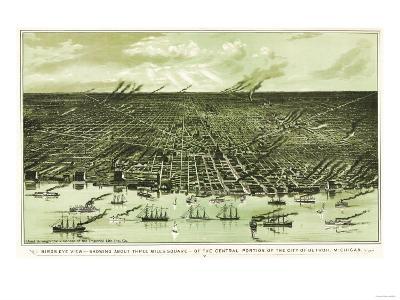 Detroit, Michigan - Panoramic Map-Lantern Press-Art Print