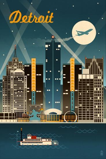 Detroit, Michigan - Retro Skyline-Lantern Press-Art Print