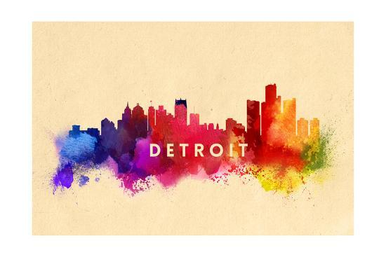 Detroit Michigan Skyline Abstract Art Print By Lantern Press Art Com
