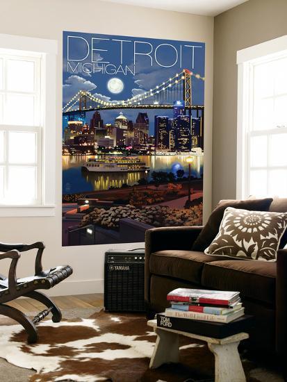 Detroit, Michigan - Skyline at Night-Lantern Press-Wall Mural