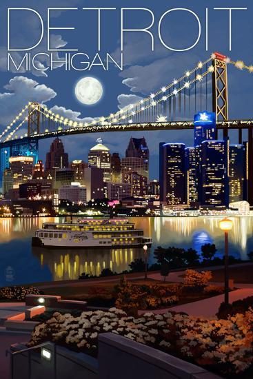 Detroit, Michigan - Skyline at Night-Lantern Press-Art Print