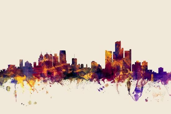 Detroit Michigan Skyline-Michael Tompsett-Art Print
