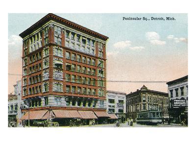 Detroit, Michigan - View of Peninsular Square-Lantern Press-Art Print