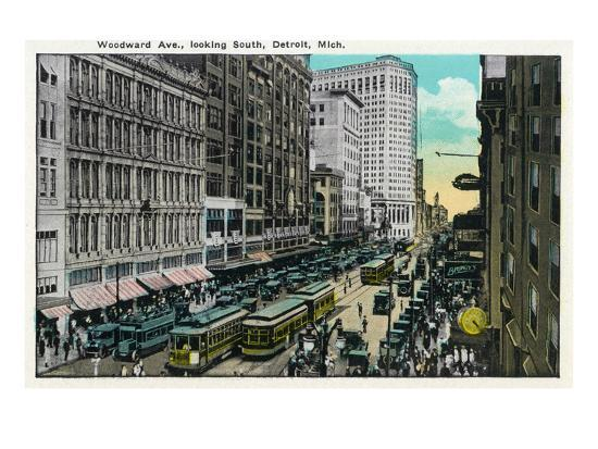 Detroit, Michigan - Woodward Avenue South Scene-Lantern Press-Art Print