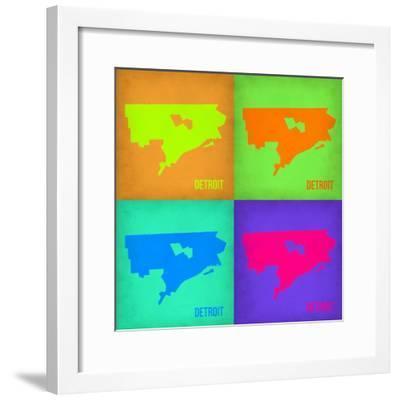 Detroit Pop Art Map 1-NaxArt-Framed Premium Giclee Print