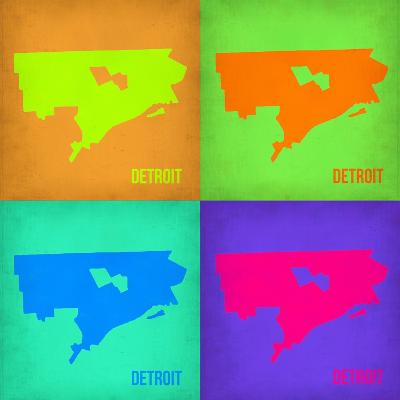 Detroit Pop Art Map 1-NaxArt-Art Print