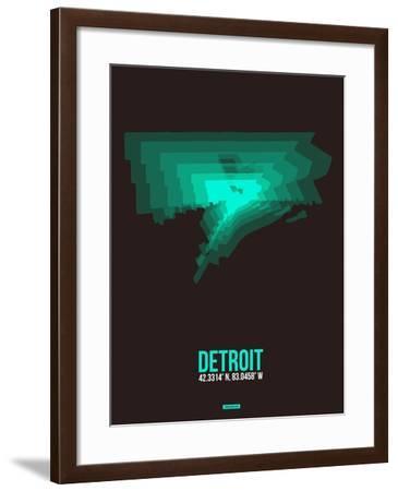 Detroit Radiant Map 4-NaxArt-Framed Art Print