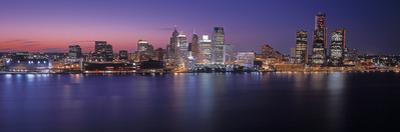 Detroit skyline at dusk, Wayne County, Michigan, USA